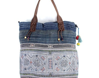 Large Tote Bag Leather Strap Denim with Vintage Hmong Fabric Thailand (BG7336.1C0)