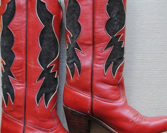 Vintage 1980's Sasson Tall Cowboy Boots / Stacked Wood Heel / Red Leather with Black Suede / Size 6