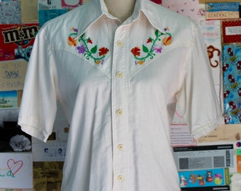 XMAS in JULY SALE : 1960s western style shirt