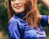 Blau metalic wetlock cyber glanz shiny blue sommer festival shirt jersey sample sale