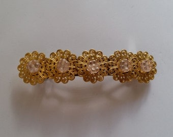 Gold Metal Filigree Pale Pink Flower French Barrette, for weddings, parties, bridesmaids, special occasions