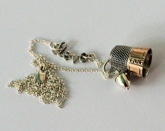 Peter Pan Antique Thimble and Acorn Kisses Necklace in Solid Sterling Silver Love Necklace