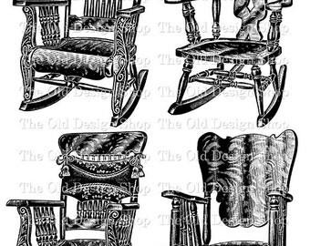 Chair Clip Art Vintage Printable Furniture Rocking Chair Rocker Digital Download Transfer PNG JPG Image