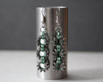 Silvered Seafoam Steampunk, Industrial Earrings.