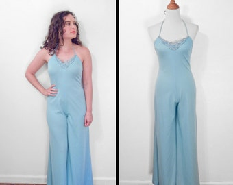 Palazzo Halter ROMPER Baby Blue 1970s Bellbottom Jumpsuit Spaghetti Straps Lacy Bodice