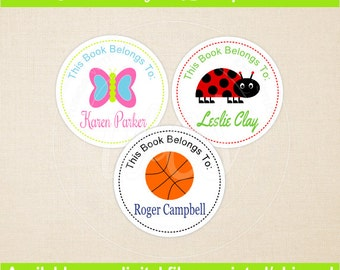 Personalized Bookplates - Childrens Bookplates - Bookplates for Kids - Kids Bookplates - Book Stickers -  You Pick Colors and Clipart Image