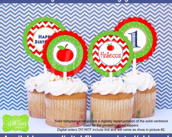 Apple Cupcake Toppers - Apple Party Circles - Apple of My Eye Toppers - Red Apple Birthday Decor - Digital and Printed Available