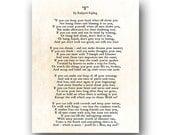 If Rudyard Kipling Poem, Inspirational Quote, Literary Quote, Motivational Quote, Book Quote, Graduation Gift, Poetry Art, Large Wall Art