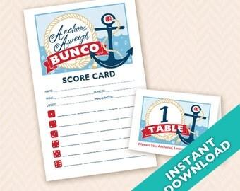 Anchors Aweigh Nautical Theme Bunco - Printable Bunco Score and Table Card Set (a.k.a. Bunko, score card, score sheet)