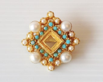 gold with pearls and turquoise inlayed square vintage brooch,