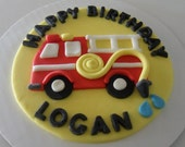 "Fondant Fire Truck Cake Topper - 6"""