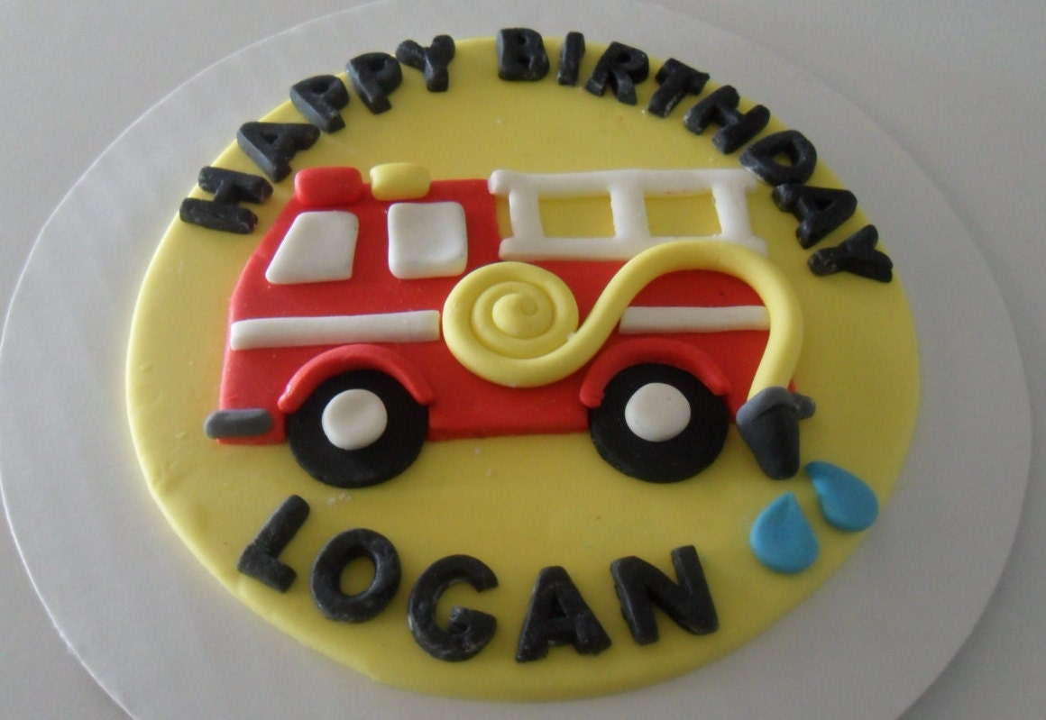 Fondant Fire Truck Cake Topper 6 by KraftyKakes on Etsy
