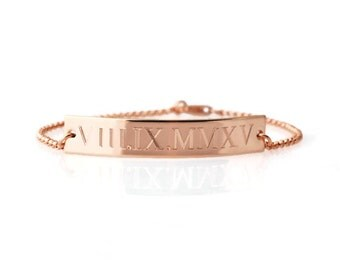 Rose gold Roman numeral ID bracelet • compass coordinates or names engraved bar nameplate bracelet in 14k pink gold fill  Personalized gifts