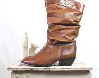 Vintage Whiskey Leather Slouch Boots Sz 7.5