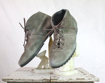 Vintage 70's Austrian Olive Suede Leather Ankle Boots