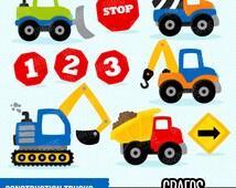 CONSTRUCTION TRUCKS - Digital Clipart Set, Construction Clipart, Construction Signs Clipart, Construction Trucks Clipart.