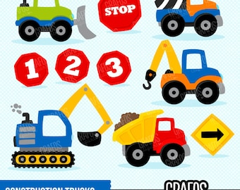 CONSTRUCTION TRUCKS - Digital Clipart Set, Construction Clipart, Construction Signs Clipart, Construction Trucks Clipart.