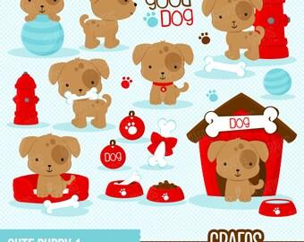 CUTE PUPPY 1  - Digital Clipart Set, Puppy Clipart, Dog Clipart, Pets Clipart