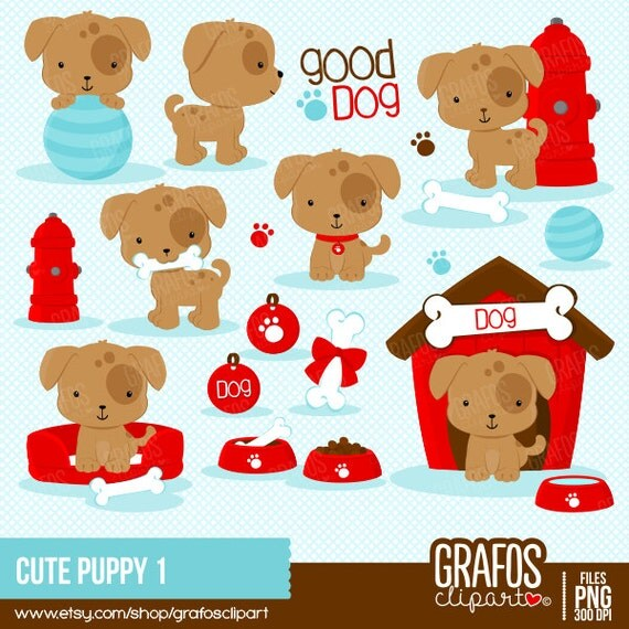 cute puppy 1 digital clipart set puppy clipart dog