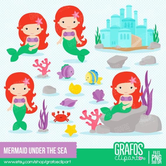 MERMAID under the sea - Digital Clipart Set, Mermaids Clipart, Sea ...