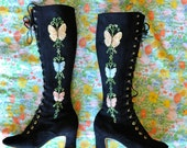 RESERVED 60s embroidered butterfly boots . vintage 1960s go go applique mod . black vegan