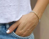 Grey Blue Moonstone 14k Gold Filled Bar Bracelet
