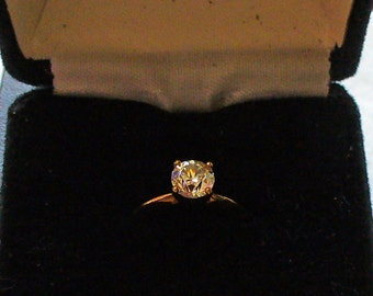 Vintage BLING CZ Ring Gold electroplate Sparkle Jewelry Solitaire Cubic Zirconia Holiday Fashion