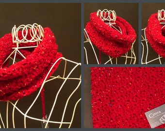 Soft Flecked Chunky Crochet Cowl Choice of Five Colours