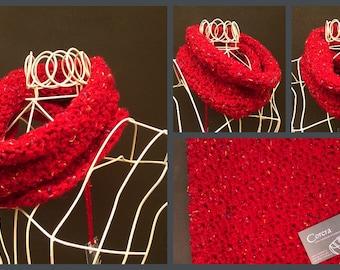 Crochet Cowl Soft Flecked Chunky Scarf Choice of Five Colours