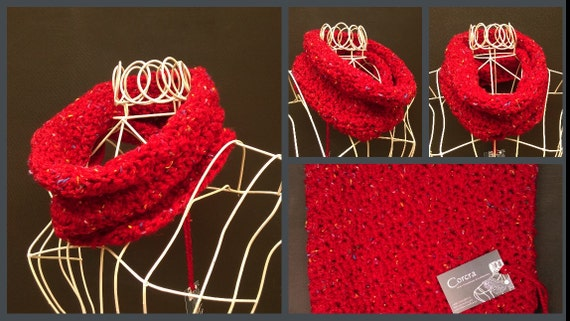 Crochet Cowl Soft Flecked Chunky Scarf Choice of Five Colours