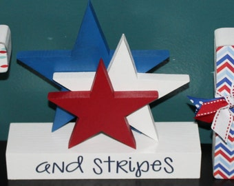 STARS and Stripes letter set for Fourth of July, Patriotic decor, Patriotic Decoration