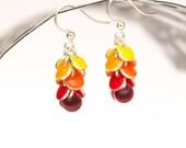 Orange Cluster Earrings ,  Enamel earrings , Ombre earrings , Summer earrings Sunny colors , Hypoallergenic