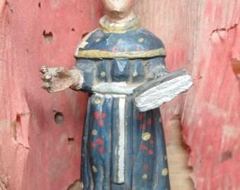 Early 1900's Polychrome Santos Saint, Antique Hand Carved Bulto