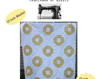 Rental Cottage Snowball Variation Beginner Modern Quilt Pattern Easy Beginner PDF Quilt Pattern