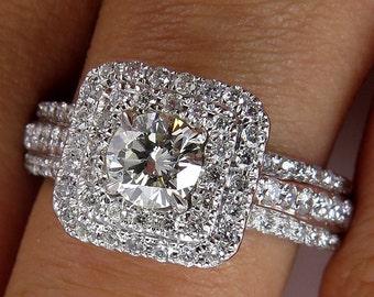 1.06ct Round Diamond Engagement Wedding EGL USA 14K White Gold, Pave Halo Ring