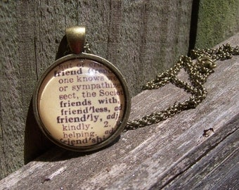 Friend Vintage Dictionary Print Handmade Cabochon Necklace--Christmas Gift for Friend--Bridesmaid Gift