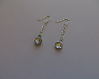 Handcrafted Silver Tone Clear Rhinestones Earrings