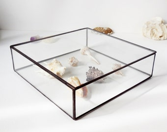 Glass Jewelry Box, Wedding Card Box, Gift For Her, Wedding Display Box, Clear Glass Jewelry Box.