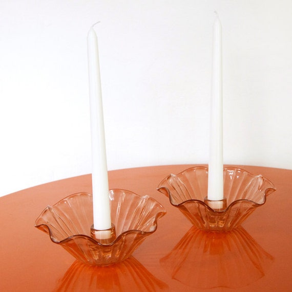 items similar to vintage rose gold glass candle holders on etsy. Black Bedroom Furniture Sets. Home Design Ideas