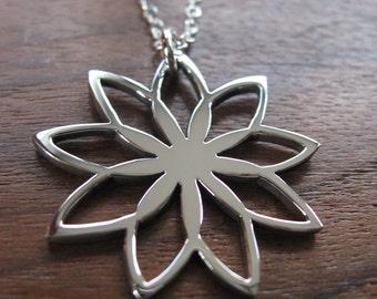 Spirograph Flower Silver Pendant Necklace