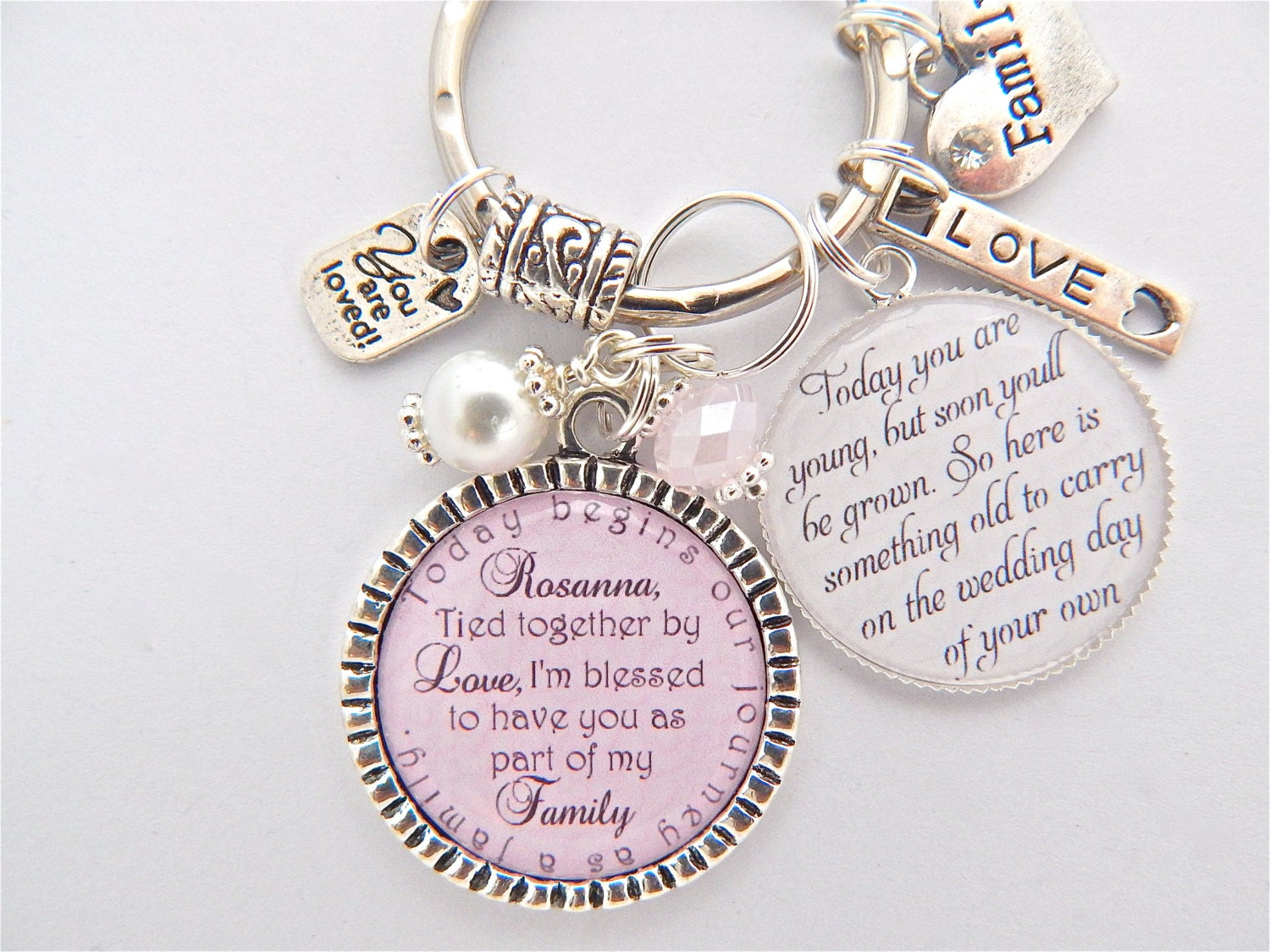 Mother Daughter Wedding Gifts: Step Daughter Gift Step Mother Daughter Pink Charm Necklace