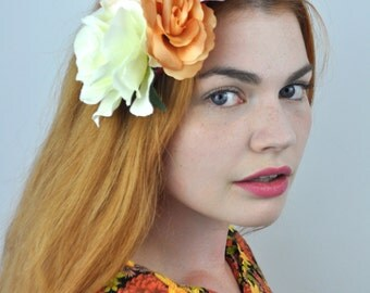 Cascade of Roses Flower Hair Clip Headpiece