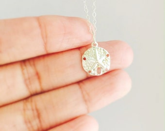 Sterling Silver Sand Dollar Charm Necklace, Silver Sand Dollar Necklace, Everyday Necklace, Bridesmaid Gift, Gift For Her, Birthday Gift