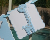 "Giraffe Baby Shower Banner , It""s A Boy,  Blue , White and Grey, New Baby, Party Banner, New Baby Celebration"
