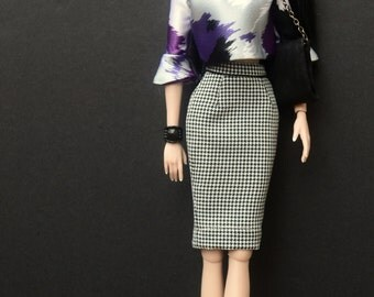 Houndstooth Pencil Skirt for Model Muse/Barbie Basics and Dynamite Girls Fashion Dolls Only