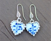 Earrings, Broken China Jewelry, Broken China Earrings, China Hearts, Danish Blue and White, Sterling Sliver, Soldered Jewelry