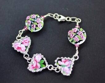 Bracelet, Broken China Jewelry, Broken China Bracelet, Heart Charms, Black Floral Chintz, Handmade Lampwork Beads, Sterling Silver