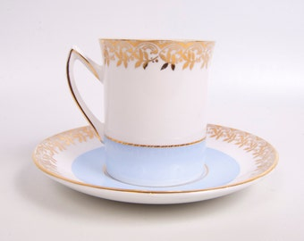 Vintage Rosina Tea Cup Saucer England Bone China Blue and White Gold Floral Design