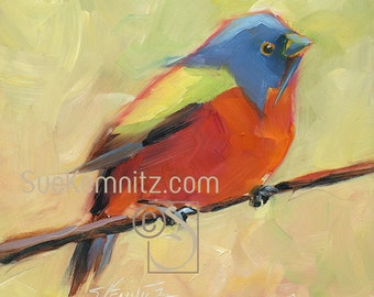 painted bunting no. 1 - male - original oil painting
