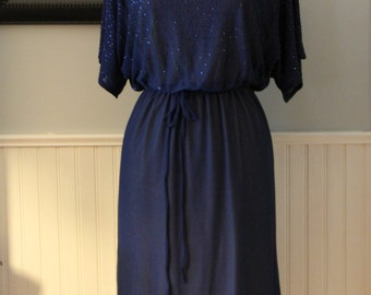 Vintage 1970s Navy Blue Stretch Crepe Sequin Dress, Vintage Size 14